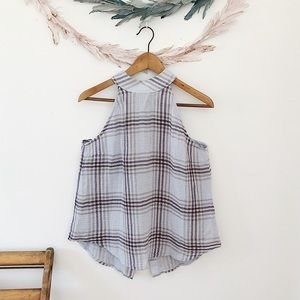 Anthro. Cloth & Stone Plaid Button Blouse